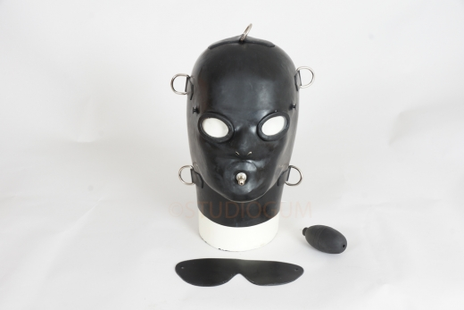 Anatomical Latex Mask with fixed gag and D-Rings